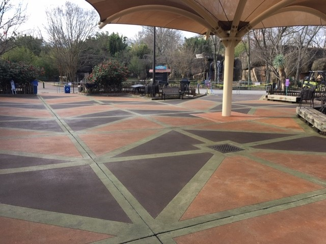 Stained concrete, sealed concrete, outdoor restaurant concrete floors, Memphis Zoo