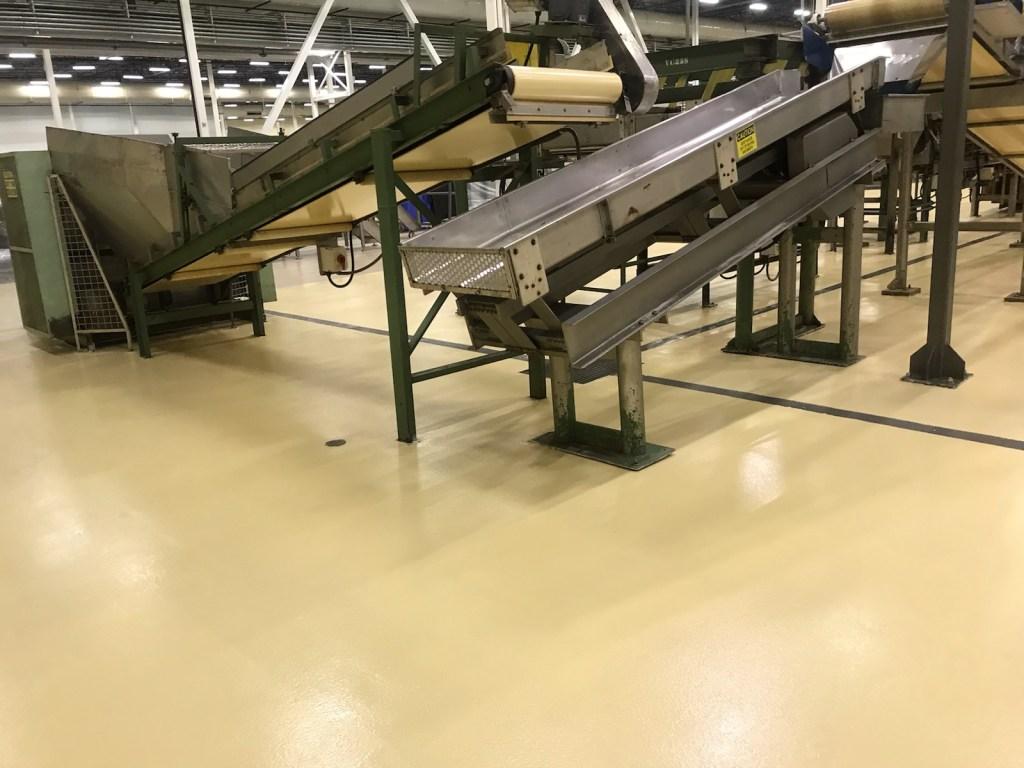 epoxy floor coatings, urethane topcoat, industrial floor coatings, coating around manufacturing equipment