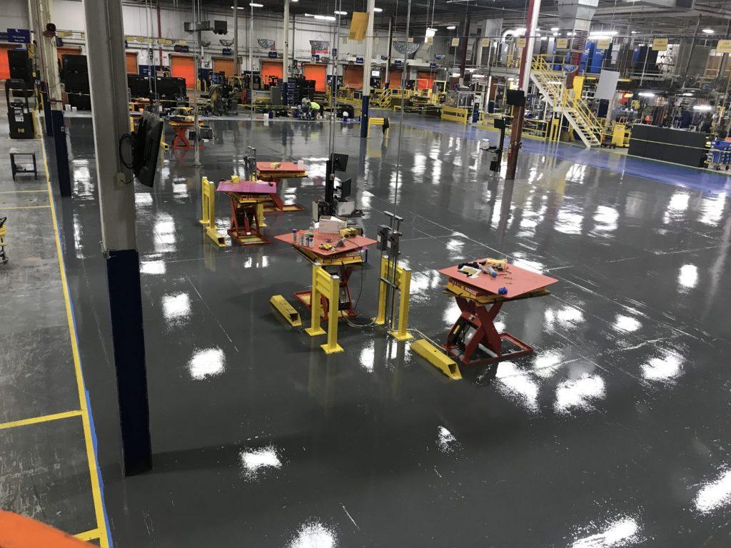 epoxy mortar, epoxy floor coatings, safety striping, epoxy line striping, manufacturing floor coatings