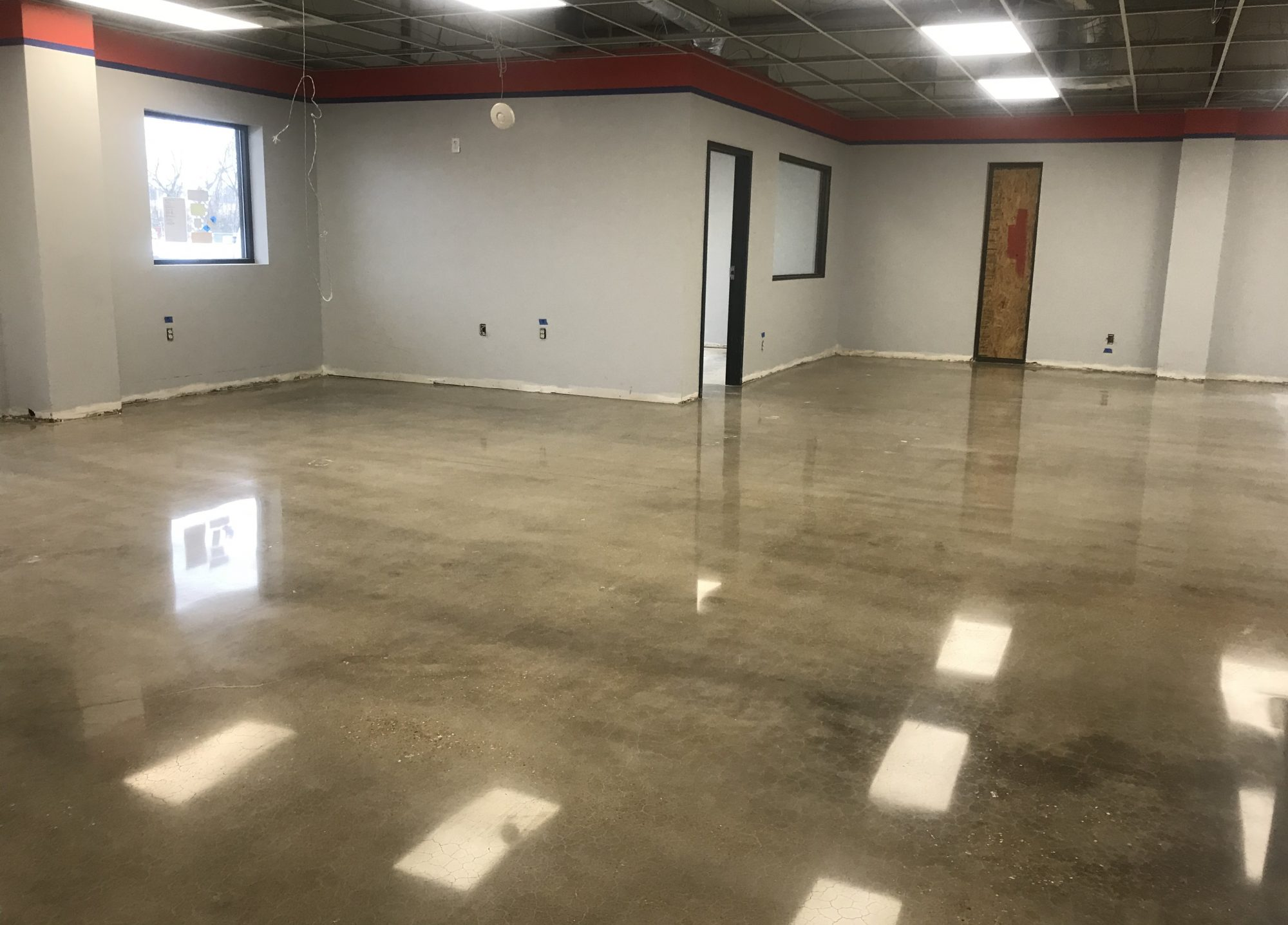 polished concrete office floors, commercial polished concrete, joint repair, joint filling, caulk joints