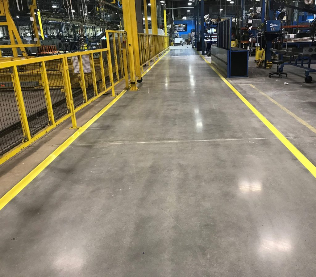 Polished concrete, aisle striping, line striping, epoxy line striping