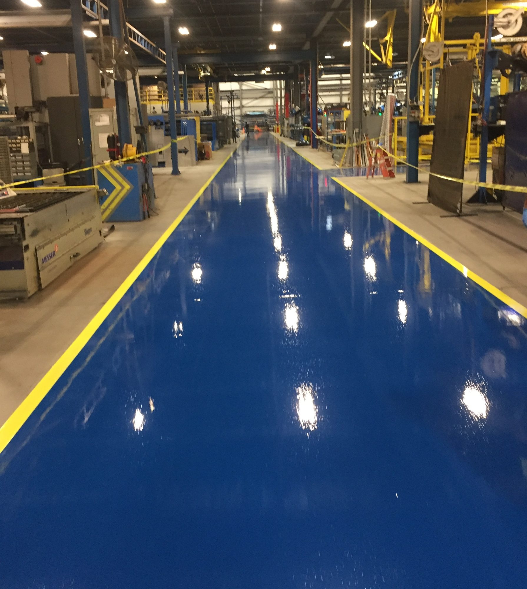 safety striping, epoxy coating aisles, industrial aisles, epoxy floor coatings