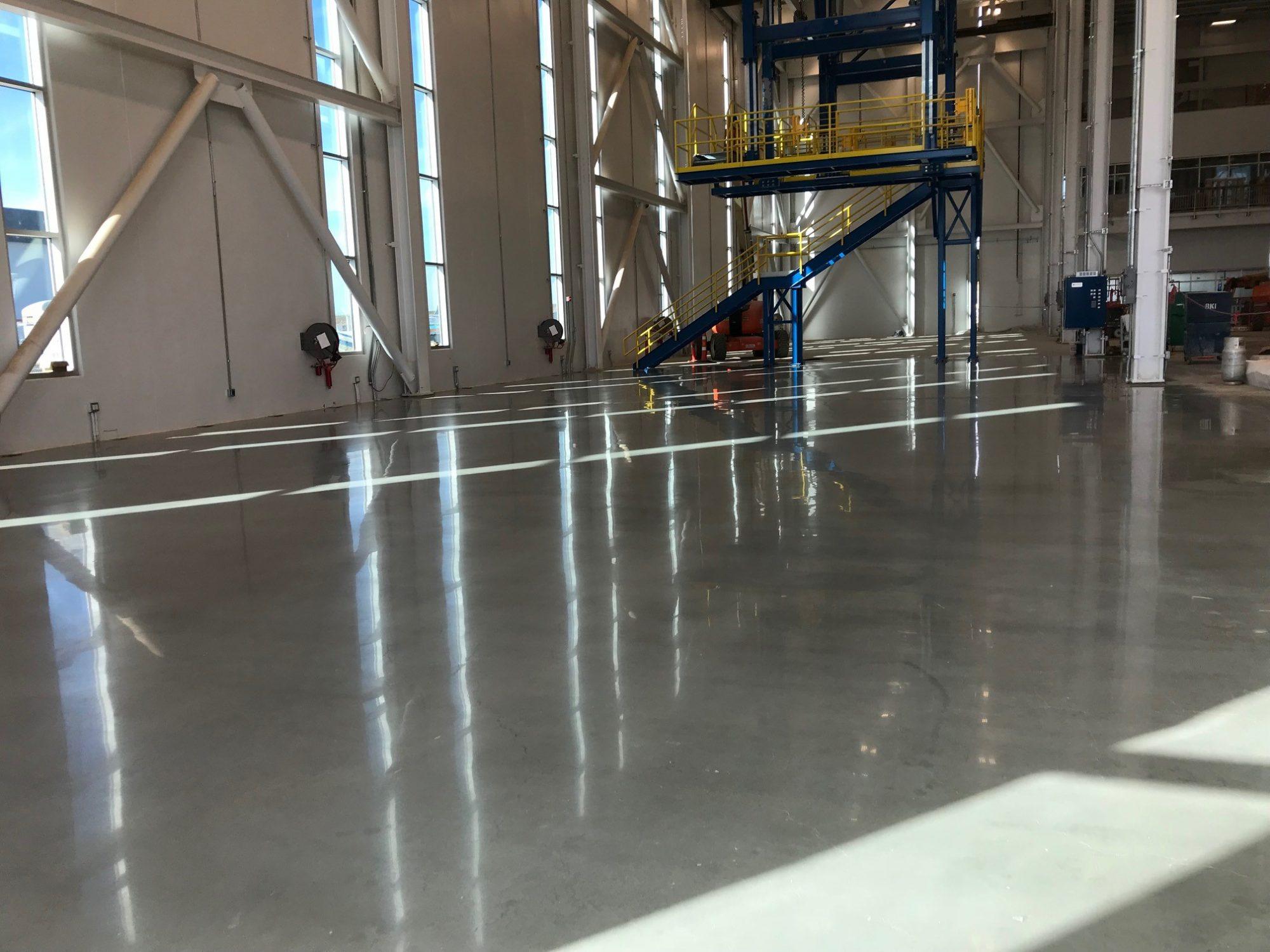 polished concrete, airplane hangar