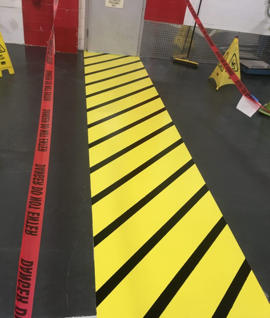 safety striping, food and beverage floor coatings, epoxy floor coatings, manufacturing aisles, Industrial Applications, Inc., IA30yrs
