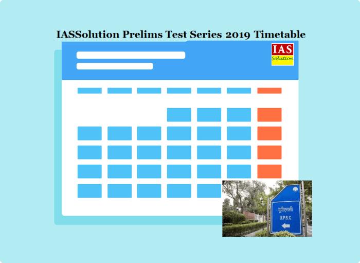 IASSolution Prelims Test Series Timetable 2019
