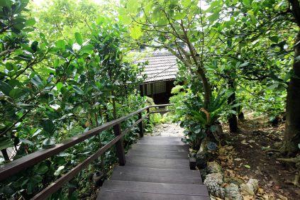 階段を降りて入り口へ。隠れ家のよう