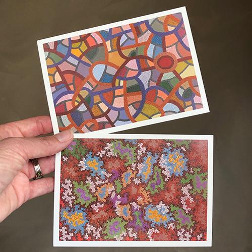 just a card kaart 1 en 2 dot painting Ibbel Dibbel
