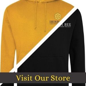 Two of Irish Bee Conservation Project's hoodies in honey and black colours