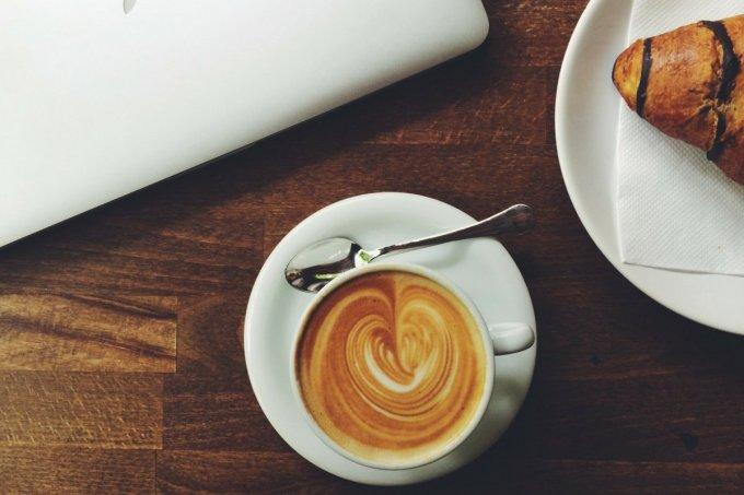 espresso in cup on desk