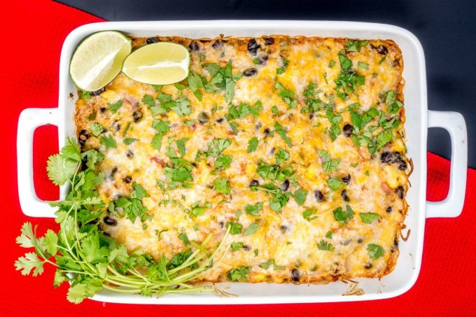 This easy Mexican casserole is hearty enough to please vegetarians and meat eaters, too
