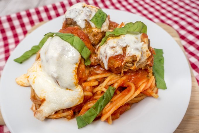 Baked spaghetti and meatballs is a tasty family favorite
