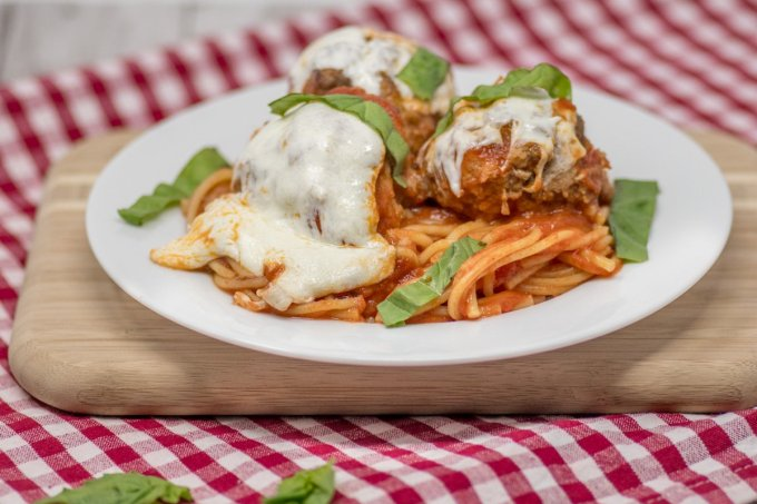 Baked spaghetti and meatballs is a simple family favorite