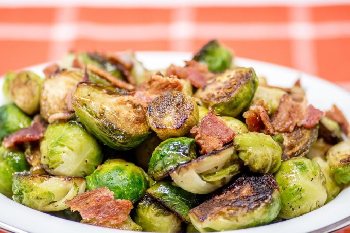 This Brussels sprouts recipe with bacon and balsamic vinaigrette is quick, easy, and crowd-pleasing