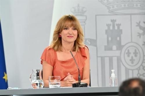 Pilar Alegría durante la rueda de prensa posterior al Consejo de Ministros