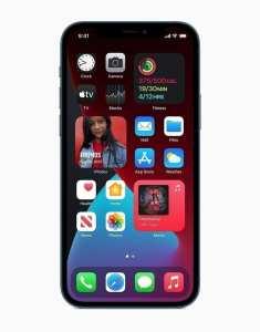 Apple iPhone 12 pro in dark mode showing widgets, springboard, and apps
