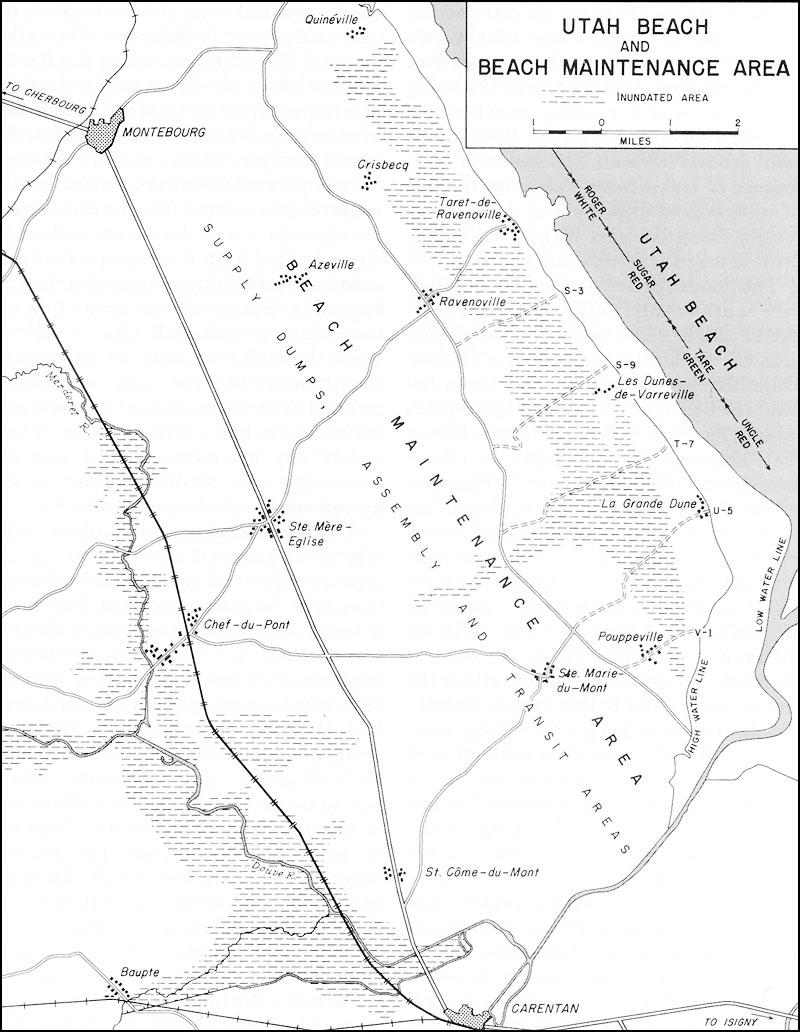 Map no 13 utah beach and beach maintenance area