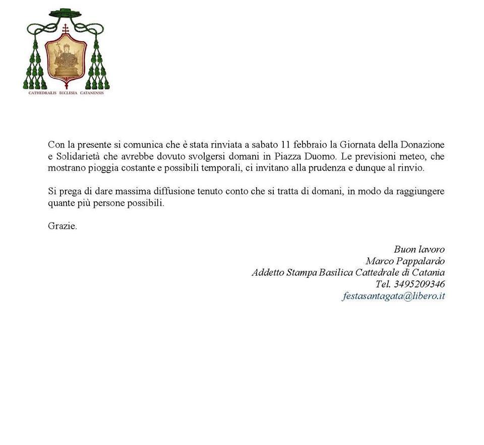 RINVIATA AL 11 FEBBRAIO P.V. LA XXI GIORNATA DELLA DONAZIONE E SOLIDARIETA'