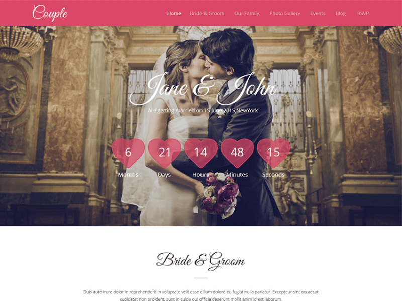 Couple – HTML 5 Wedding Templates