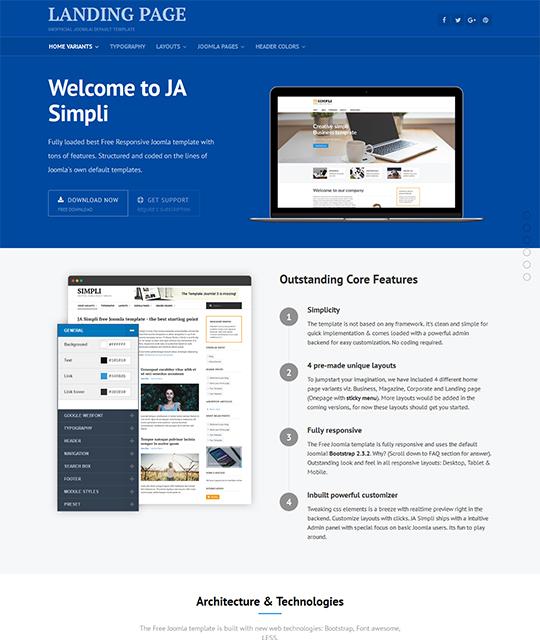 JA Simpli - Free Joomla Template 4