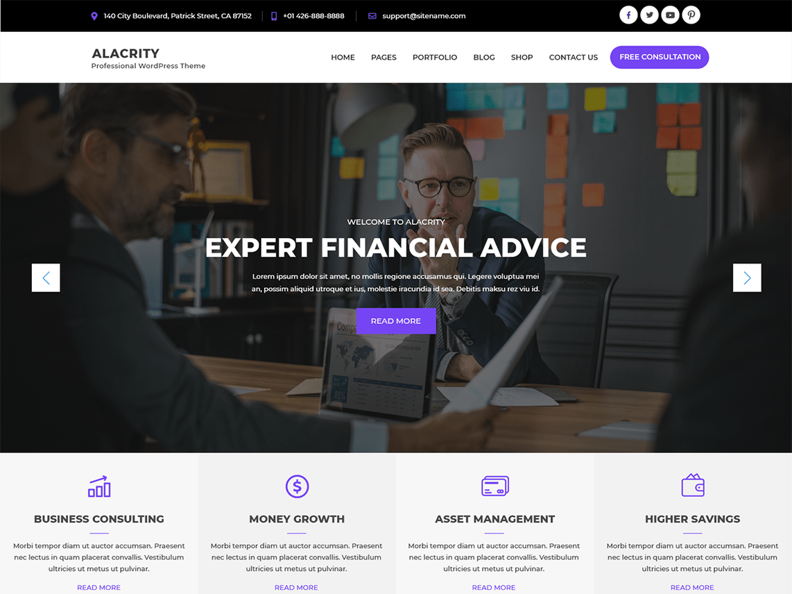 Alacrity Lite – WordPress Theme for Finance Business