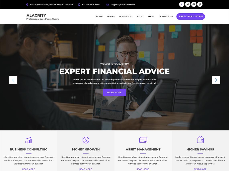 Alacrity Lite – WordPress Theme for Finance Business