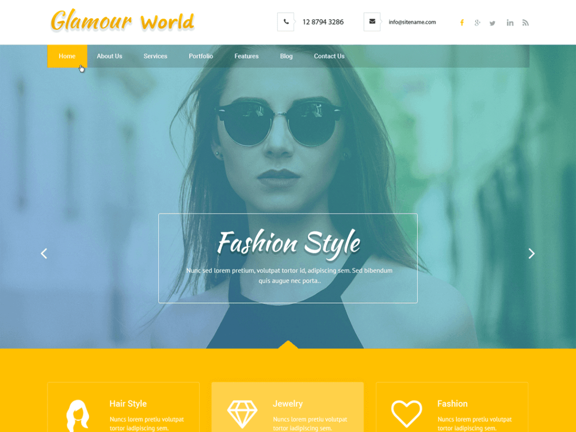 Glamour World - WordPress Theme For Glamour World
