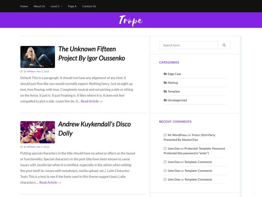 Trope – WordPress Theme with Several Widgets