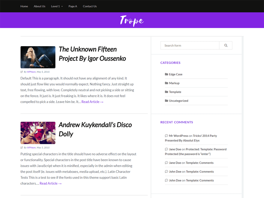 Trope - WordPress Theme Several Widgets