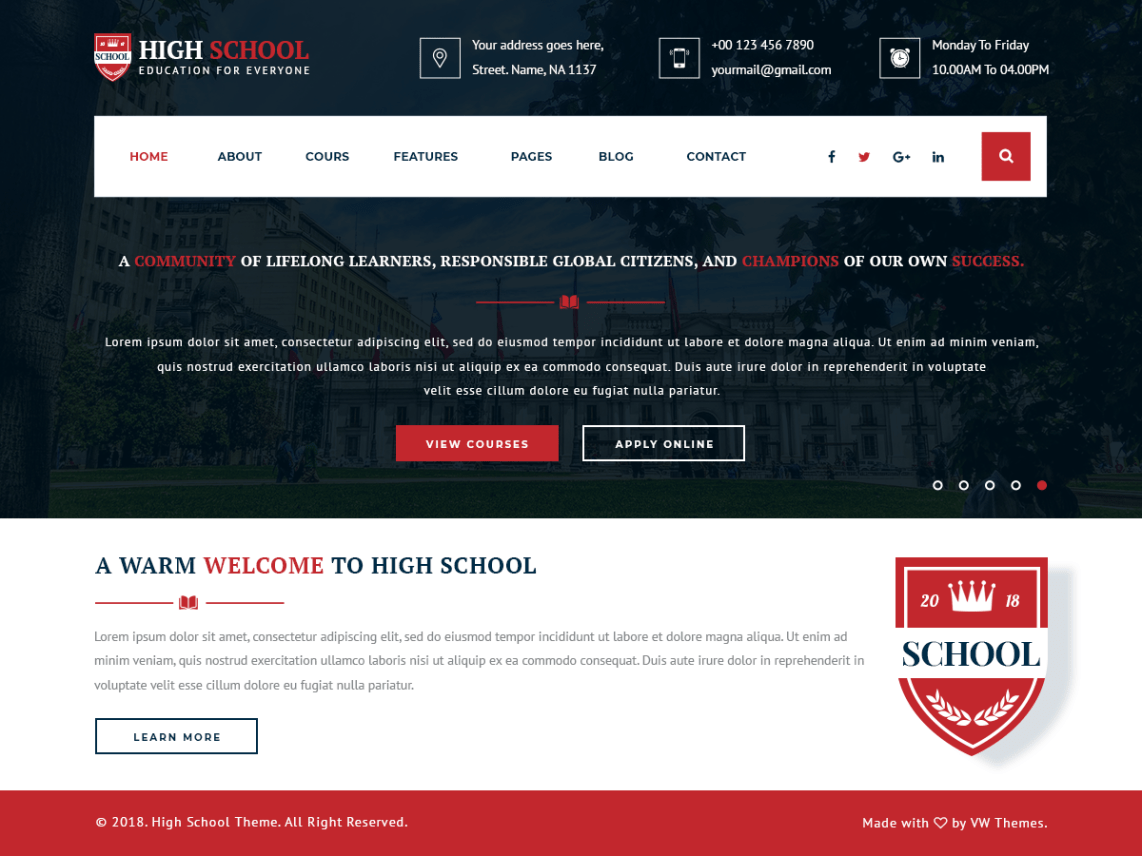 VW School Education - WordPress Theme for Schools 1
