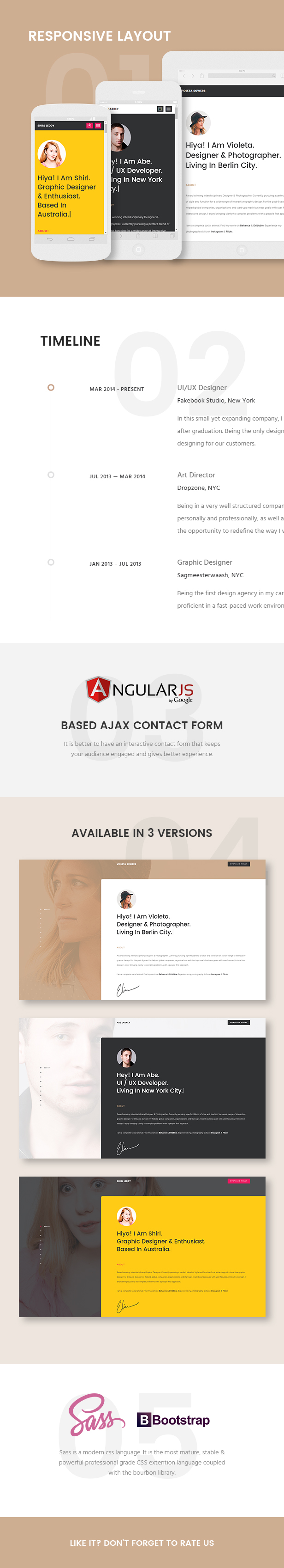 Responsive CV Template Features