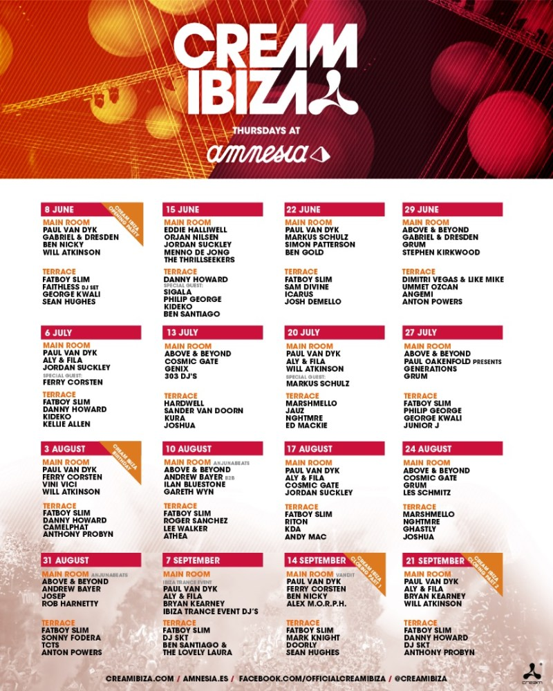 Calendar Ibiza June : Cream ibiza every thursday at amnesia ibizaxxl