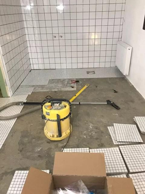 Tvättstugerenovering torrläggning mosaik