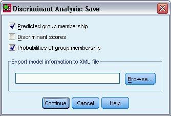 تحليل التمييزي، مربع حوار الحفظ Save