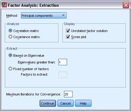 مربع حوار الاستخراج - التحليل العاملي