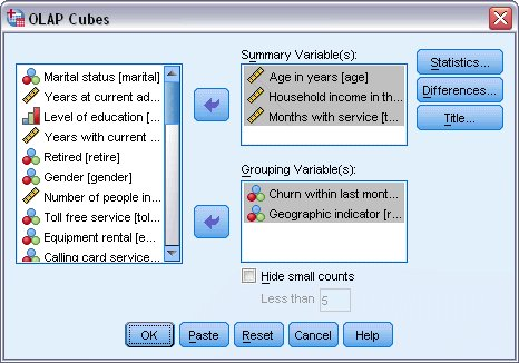 مربع حوار مكعبات OLAP مع تعريف متغيرات التلخيص ومتغيرات التجميع