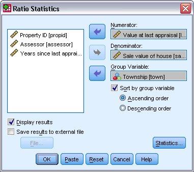 """مربع الحوار الرئيسي """"إحصائيات النسب"""" Ratio Statistics"""