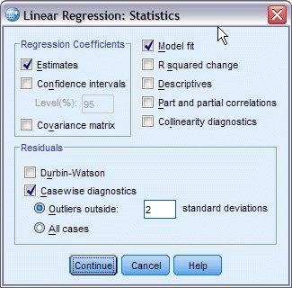 مربع حوار الإحصائيات - الانحدار الخطي التدريجي