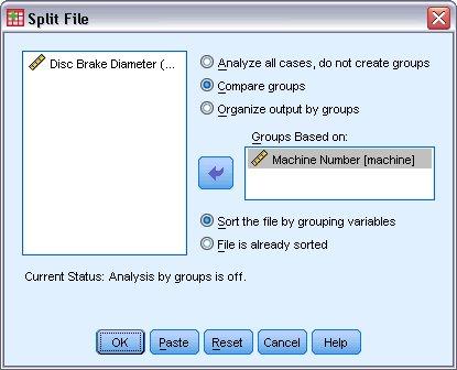مربع حوار تقسيم Split File مع تحديد رقم الماكينة كمتغير التجميع