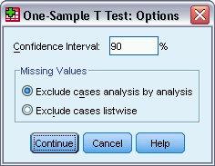 مربع حوار خيارات اختبار ت لعينة واحدة One-Sample T Test Options مع إعداد 90 لنسبة فترة الثقة