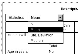 Activated pivot table showing Mean selected from the drop-down list of Statistics in the layer dimension