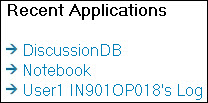 An example of Recent Applications links