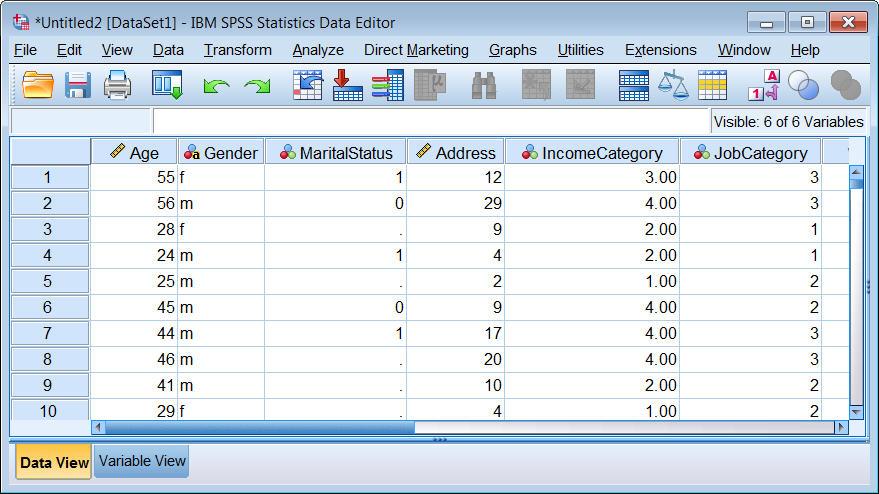 محرر البيانات في SPSS يعرض بيانات Excel المستوردة بعد تنفيذ الخيارات والإعدادت