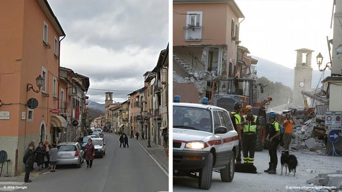 kerusakan gempa italia