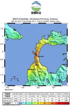 peta goncangan tanah gempa palu