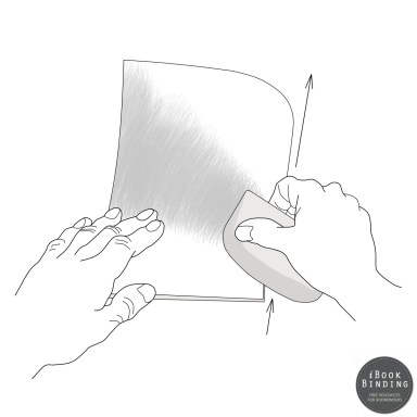 Figure 29 - Using a Folding Stick to Create a Crisp Edge