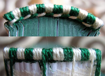 thick thread front and back green white headband