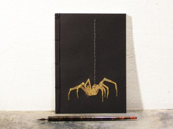 embroidered-spider-on-japanese-notebook