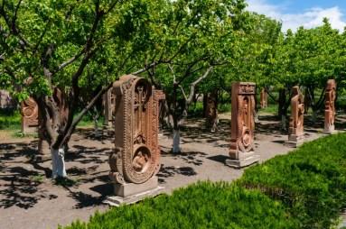 Traditional Armenian Khachkars Shaped as Letters Near the Saint Mesrop Mashtots Cathedral 2