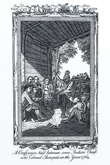 Engraving A Conference held between some Indian Chiefs and Colonel Bouquet