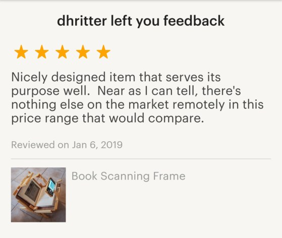 2019.01.14 - iBookBinding Book Scanning Frame on Etsy 01
